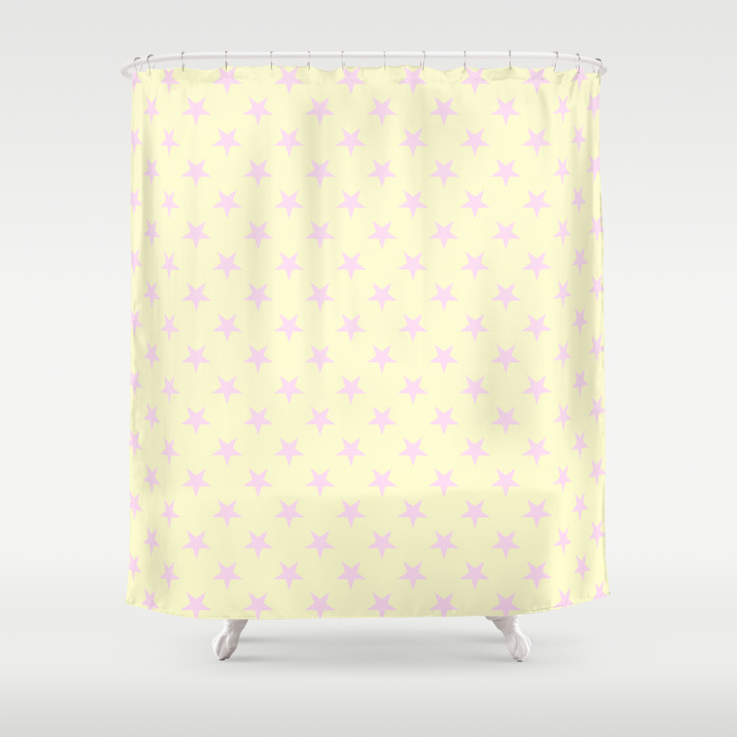 Pink Lace On Cream Yellow Stars Shower Curtain By Colorfulpatterns2 Society6