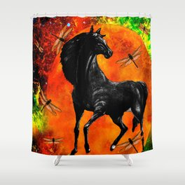 HORSE MOON AND DRAGONFLY VISIONS Shower Curtain