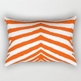 Fluorescent Orange Neon and White Zebra Stripe Rectangular Pillow