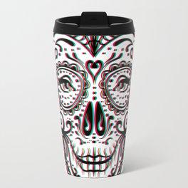Sugar Skull (Calavera) Chromatic Aberration - Cyan Magenta Yellow Travel Mug