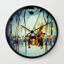 Japanese Covered Litter and Lanterns Wall Clock
