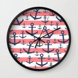 Nautical coral stripe navy blue anchor pattern Wall Clock