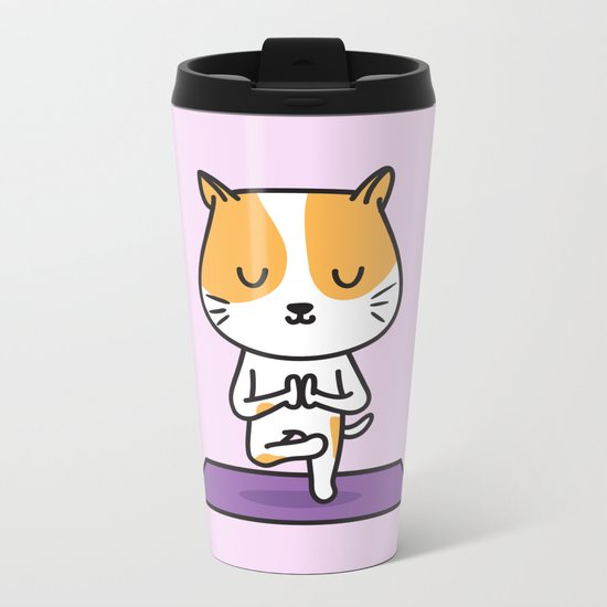 Yoga Cat Metal Travel Mug