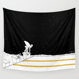 Moon Swimming Competition Wall Tapestry