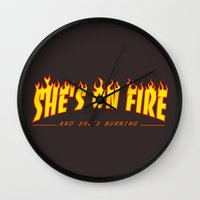 scarface Wall Clocks featuring Scarface She's on Fire  by D-fens