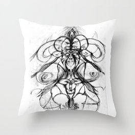 Man with bee and horns Throw Pillow