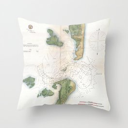 Vintage Map of The Barnegat Inlet (1865) Throw Pillow