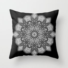 Mandala preta e branca Throw Pillow