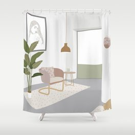 My Dream Living Room in my Dream House Shower Curtain