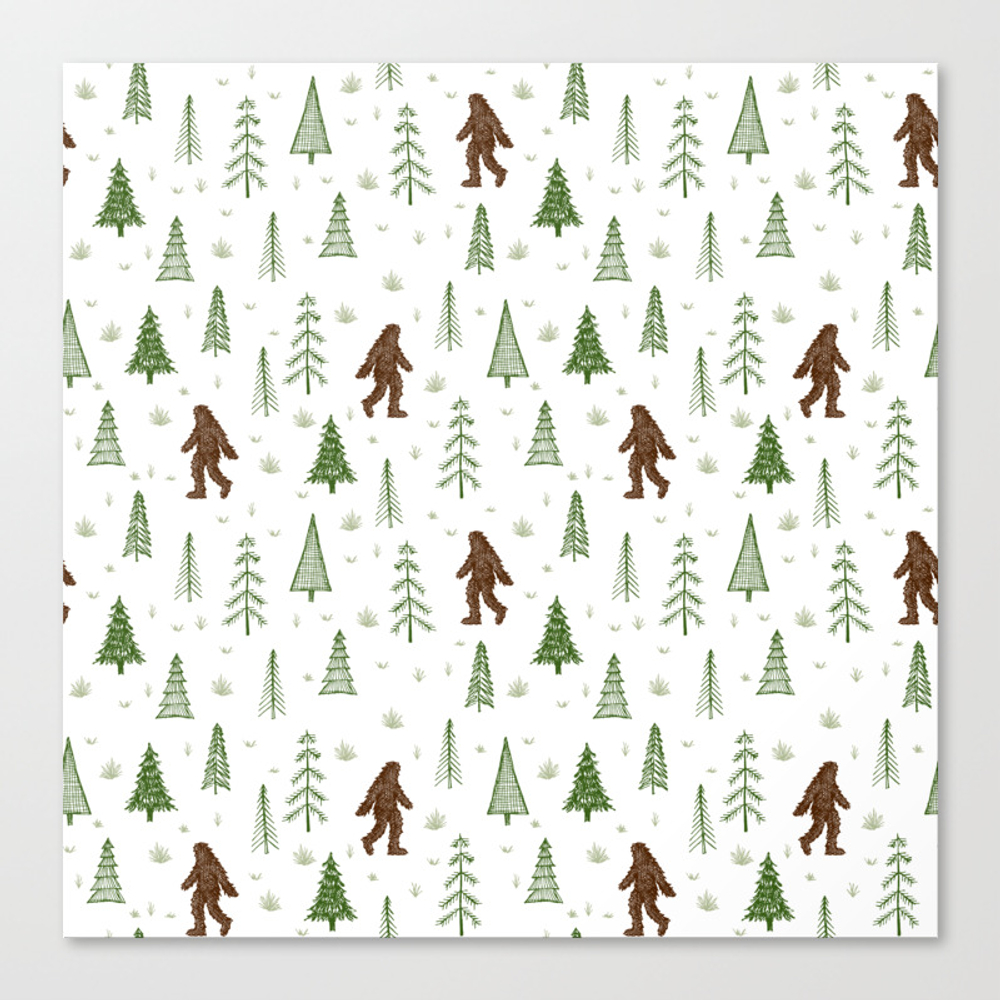 Trees + Yeti Pattern In Color Canvas Print by Staceywalkeroldham CNV8597777