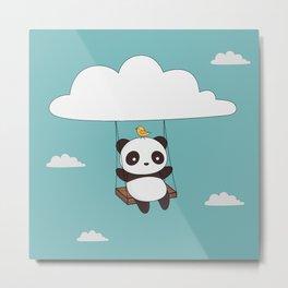 Kawaii Cute Panda In The Sky Metal Print