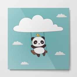 Kawaii Cute Panda In The Sky Metal Print