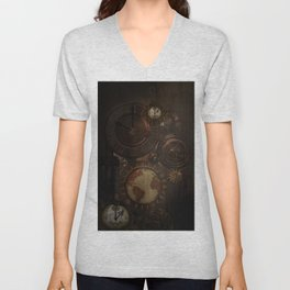 Brown steampunk clocks and gears Unisex V-Neck