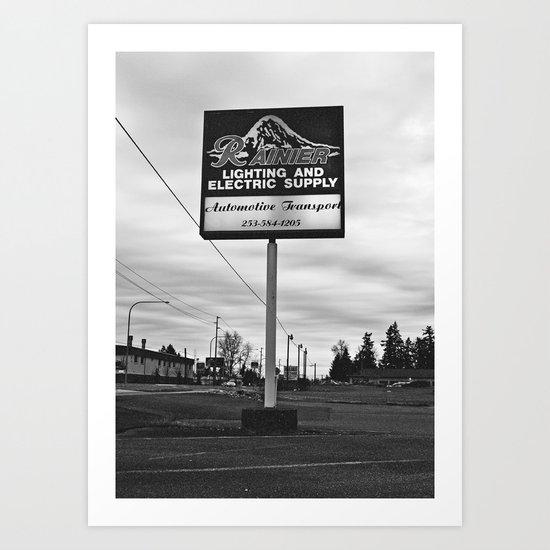 Mount Rainier sign Art Print