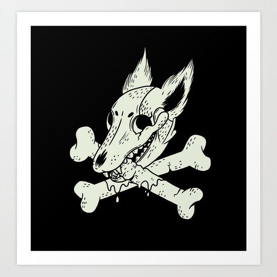 Dog & Crossbones Art Print