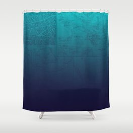 Blue Ombre Map Shower Curtain
