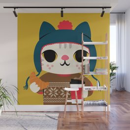 Holiday - Cat in a Sweater / Mustard Yellow Wall Mural