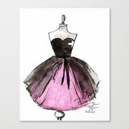 Pink and Black Sheer Dress Fashion Illustration Canvas Print