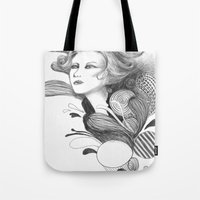 beethoven Tote Bags featuring Beethoven by Wendy Ding: Illustration