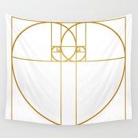 fibonacci Wall Tapestries featuring Heart of Gold by Melek Design
