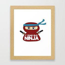 7th Birthday Ninja Party Samurai Ninjas Gift Japanese Ninja stars Fighter Gift Framed Art Print