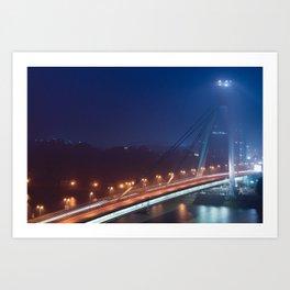 Bridge in fog Art Print