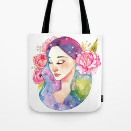 Unearthly supernatural girl with space in the hair. Virgo constellation. Tote Bag