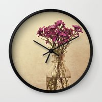 vintage floral Wall Clocks featuring Floral ~ vintage by Anne Staub
