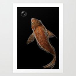 Blurry fish in darkness Art Print