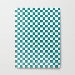 Small Checkered - White and Dark Cyan Metal Print