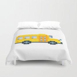 Pixel School Bus Duvet Cover