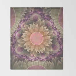 Pastel Pearl Lotus Garden of Fractal Dahlia Flowers Throw Blanket