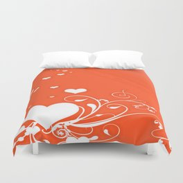 White Valentine Hearts On Red Background Duvet Cover