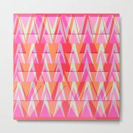 Cray ZigZag   pink apricot fuchsia Metal Print