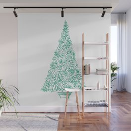 green Christmas tree in New Zealand Wall Mural