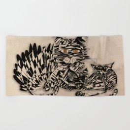 3 cats esoflowizm art Beach Towel