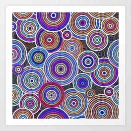 Colorfull Aboriginal Dot Art Pattern Art Print