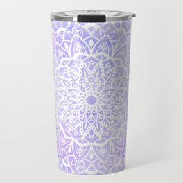 White Mandala on Pastel Blue and Purple Textured Background Travel Mug