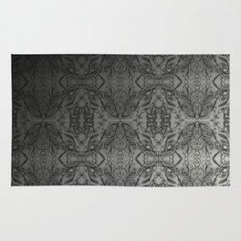 Black Gradient Floral Doodle Pattern Rug