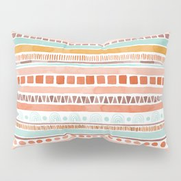Boho Stripes - Watercolour pattern in rusts, turquoise & mustard. Nursery print Pillow Sham