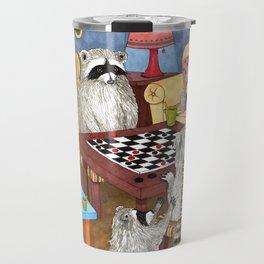 Raccoon 18 playing checkers Travel Mug