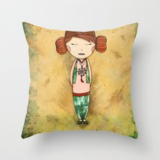 Green Tea Girl Throw Pillow