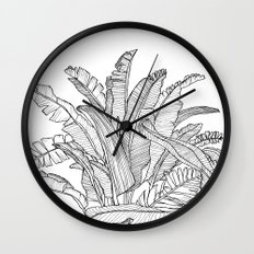 Palm Beach - Black and White Wall Clock
