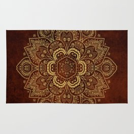 Gold Flower Mandala on Red Textured Background Rug