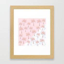 Elegant rose gold glitter palm pattern, white marble & pink Framed Art Print