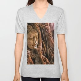 Ayutthaya Temple, Wat Mahathat, Thailand with rich sunlight playing across Buddha's head in tree Unisex V-Neck