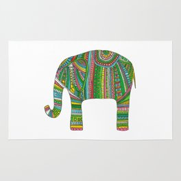 Abstract elephant illustration Colorful animal ornate print Bright decor Gift for friend Rug