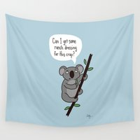 koala Wall Tapestries featuring Koala Question by Phil Jones