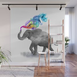 Colorful Smoky Clouded Elephant Wall Mural