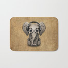 Cute Baby Elephant Dj Wearing Headphones and Glasses Bath Mat